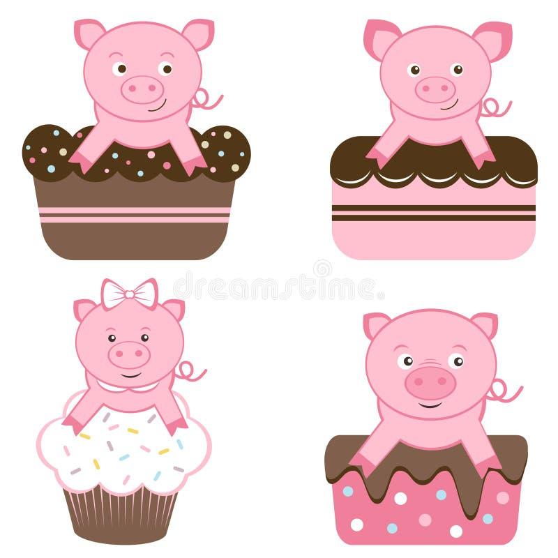 Gulliga pigs på cakes royaltyfri illustrationer