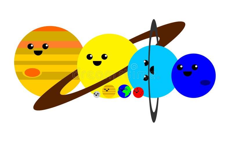 Gulliga planeter av solsystemet stock illustrationer