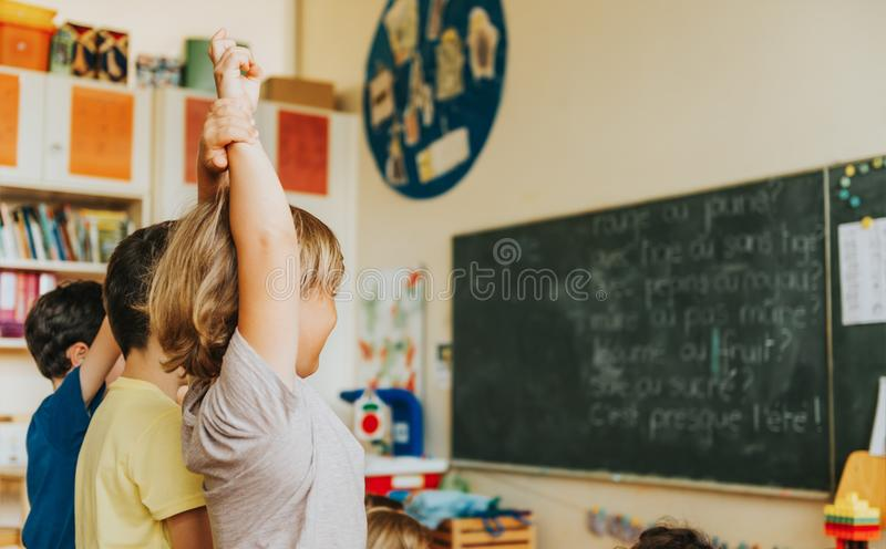 Gulliga pyser som arbetar i klassrum arkivfoto