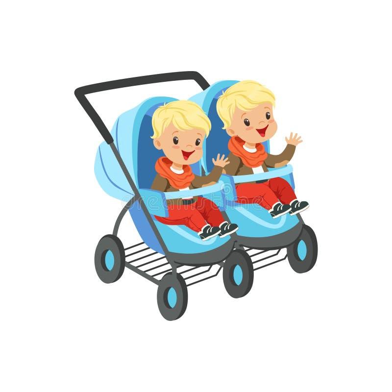 Gulliga pyser som sitter i en baby med hjärtfelvagn för, kopplar samman, säkerhetshandtagtrans. av den lilla ungevektorn vektor illustrationer