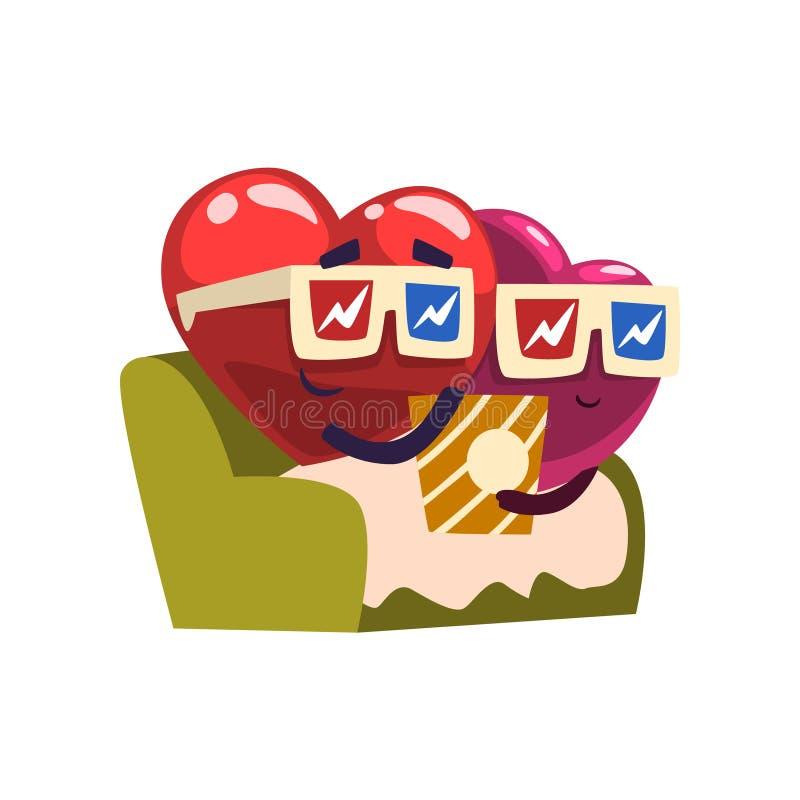 Gulliga röda och rosa hjärtatecken som sitter i filmbiografen som äter popcorn, förälskat roligt par lyckliga valentiner f royaltyfri illustrationer