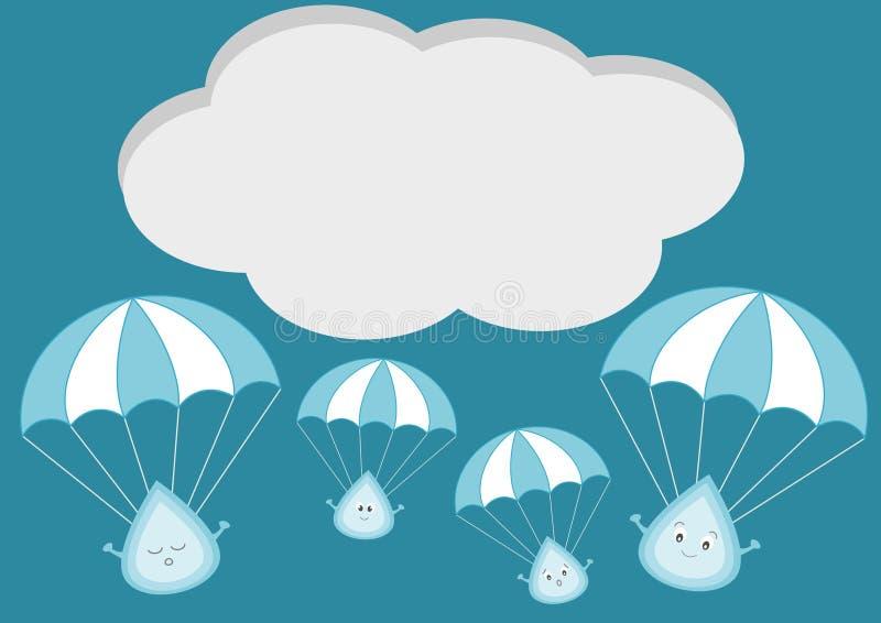 Gulliga regndroppar med hoppa fallskärm tecknad filmillustrationen royaltyfri illustrationer