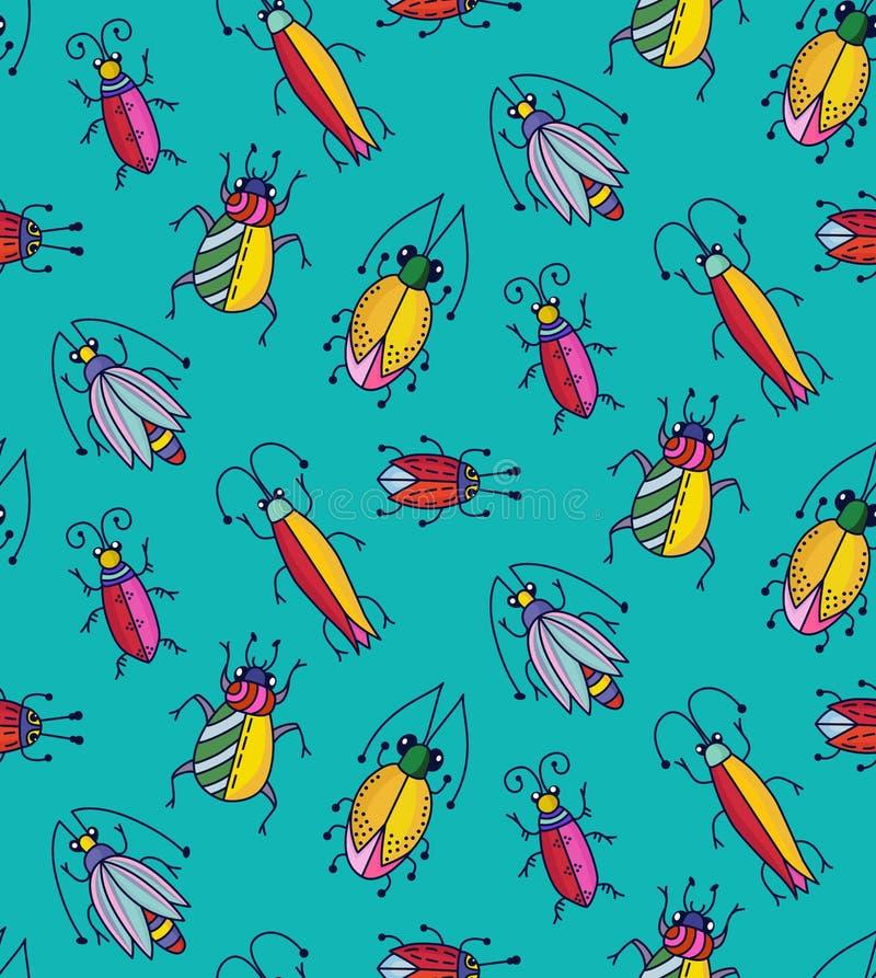 Gulliga roliga färgrika kryp buggar modellen för vektorn för skalbaggeklotter den sömlösa royaltyfri illustrationer