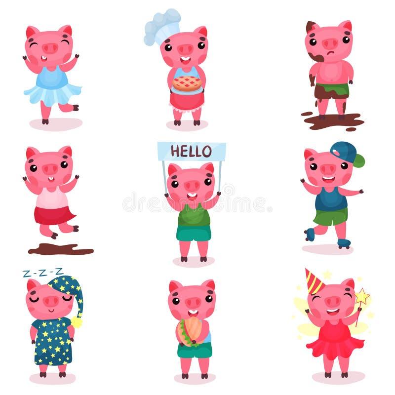 Gulliga roliga svintecken ställer in, poserar piggy pojkar och flickor i olikt och illustrationer för lägetecknad filmvektor royaltyfri illustrationer