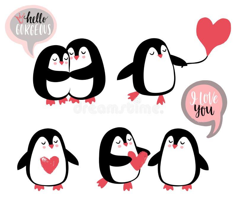 Gulliga romantiska pingvin royaltyfri illustrationer