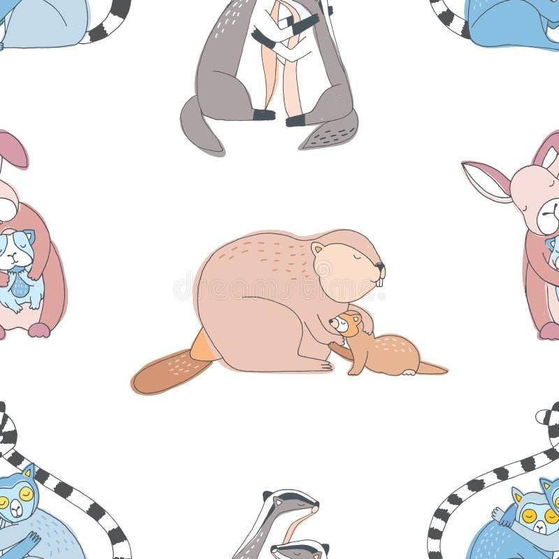 Gulliga sömlösa djurkramar Färgrik hand dragen modell royaltyfri illustrationer