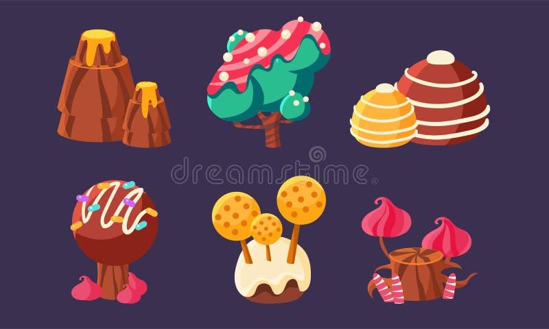 Gulliga söta godisträd, berget, champinjoner ställde in, fantasilandskapbeståndsdelar för mobil eller videospelanvändargränssnitt stock illustrationer