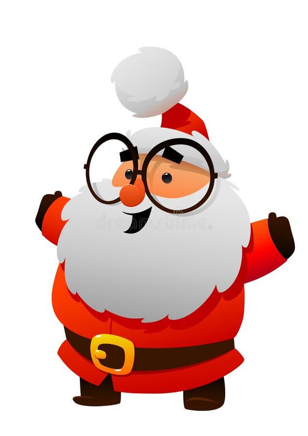 Gulliga Santa Claus med exponeringsglastecknad filmteckenet royaltyfri illustrationer