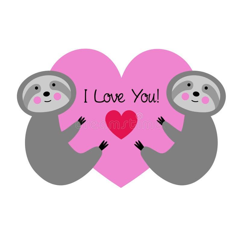 Gulliga sengångare med rosa valentinhjärta vektor illustrationer