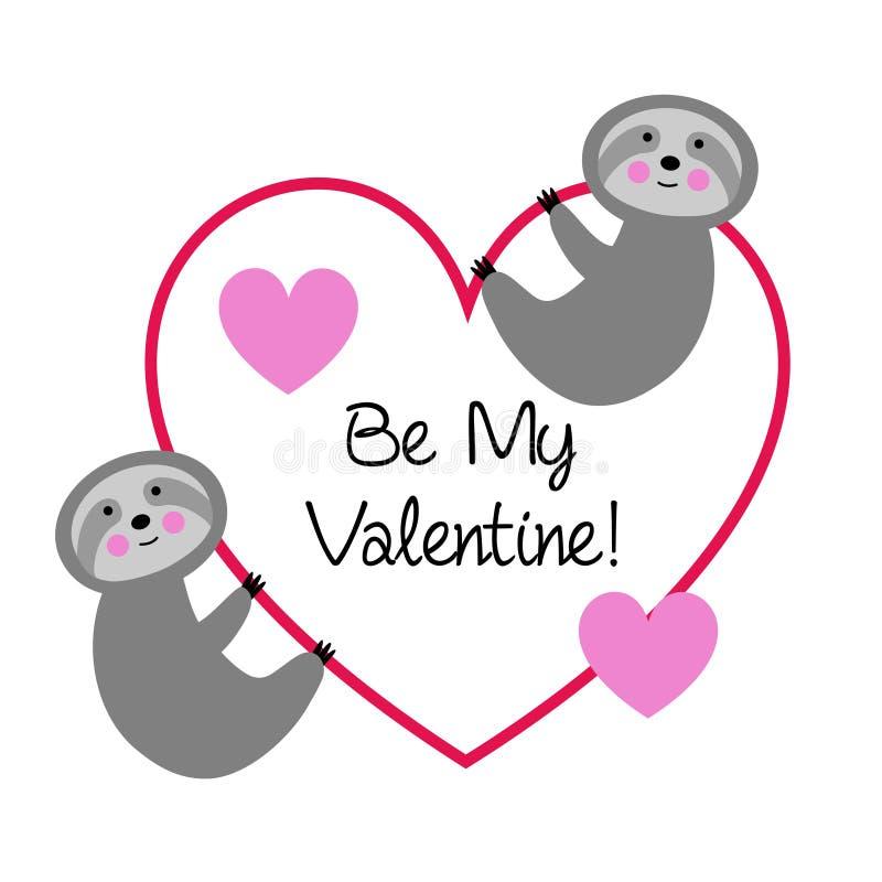 Gulliga sengångare med valentinhjärta royaltyfri illustrationer