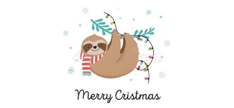 Gulliga sengångare, roliga julillustrationer med Santa Claus dräkter, hatt och halsdukar, hälsningkortuppsättning, baner stock illustrationer