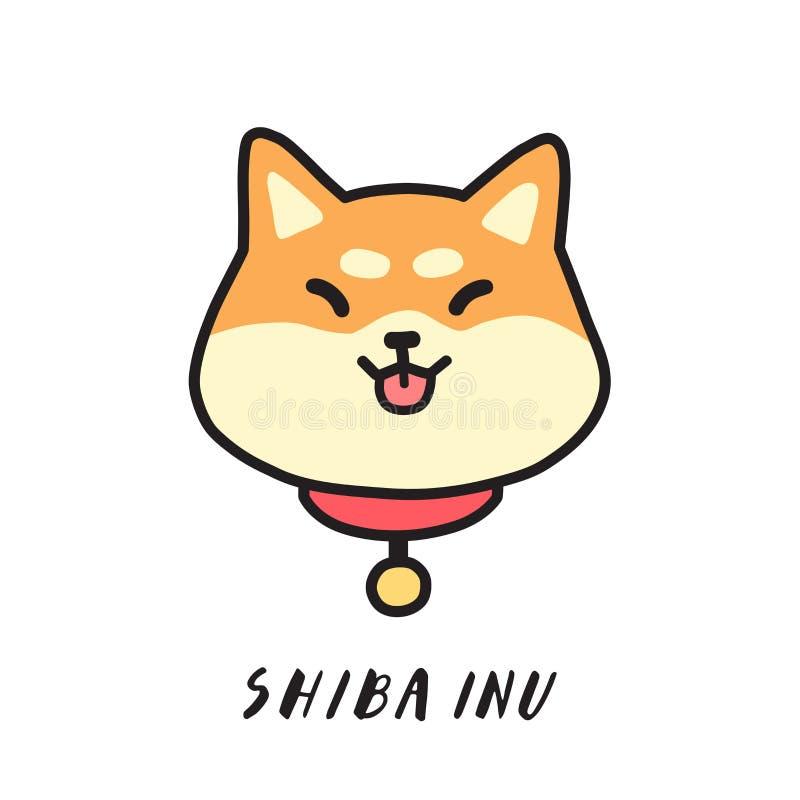 Gulliga shibainus huvud med tungan utanför vektorillustration stock illustrationer