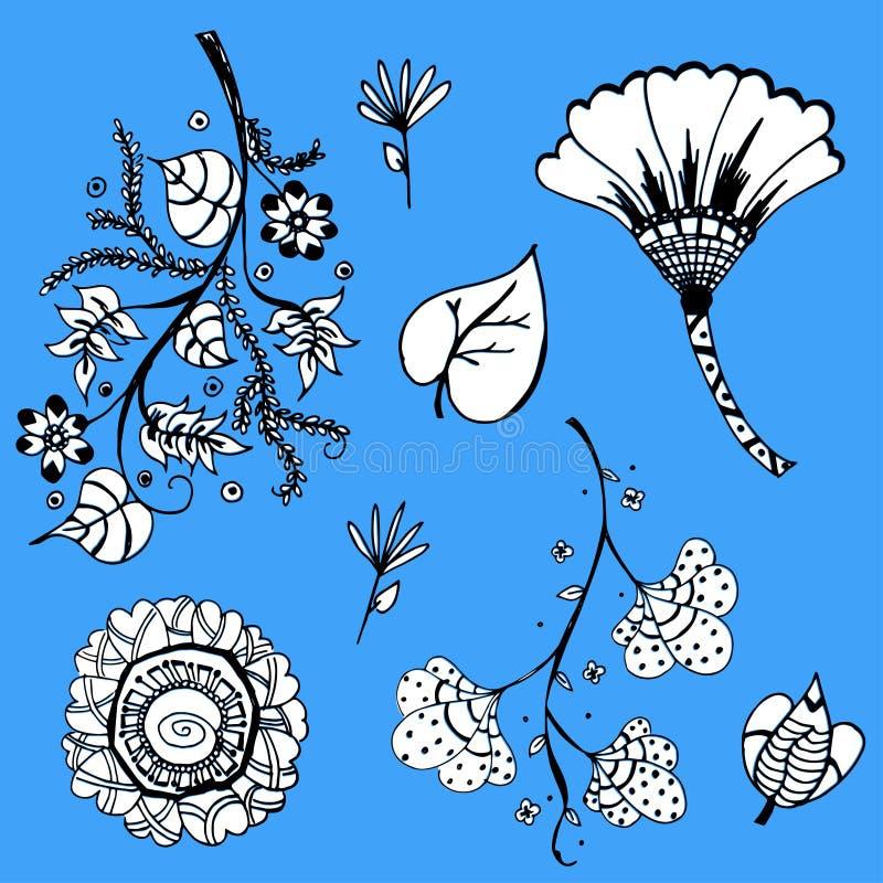 Gulliga sidor och blomman skissar vektorn vektor illustrationer