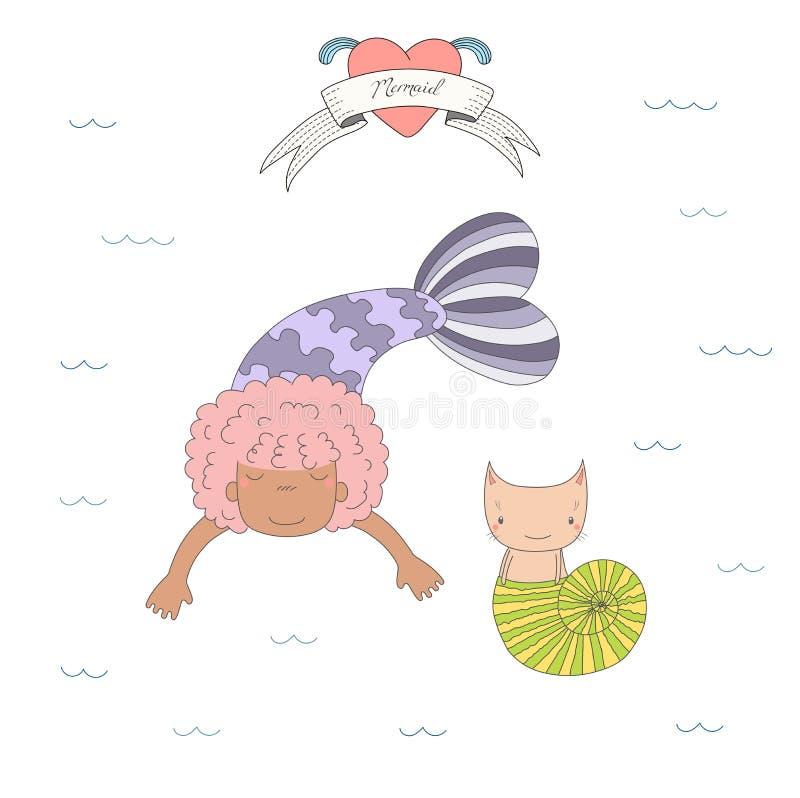 Gulliga sjöjungfruar och katter under vattenillustration vektor illustrationer