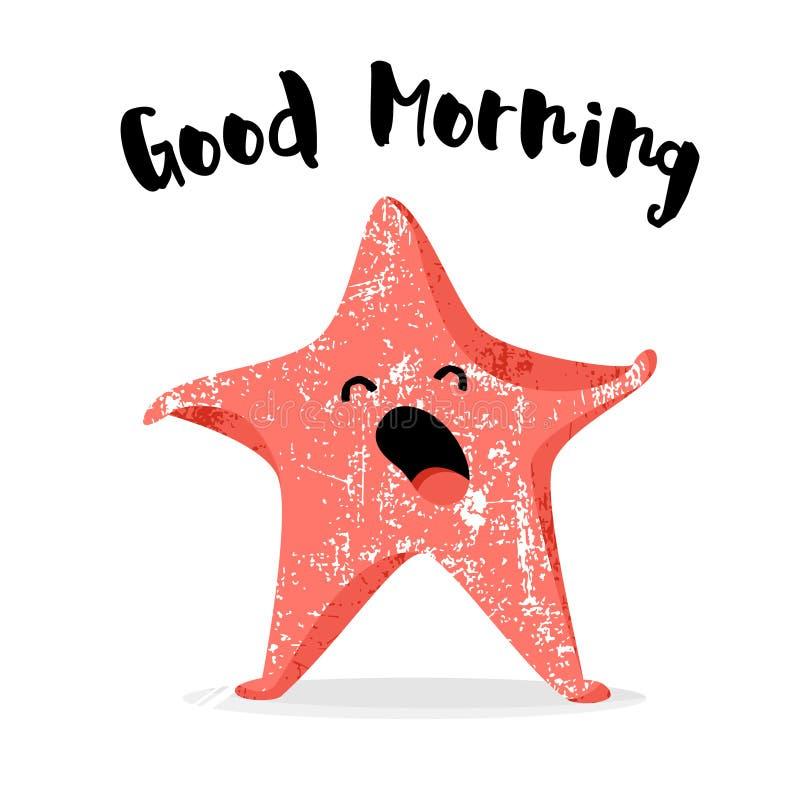 Gulliga sjöstjärnagäspningar god morgon för kort Plan stil vektor stock illustrationer