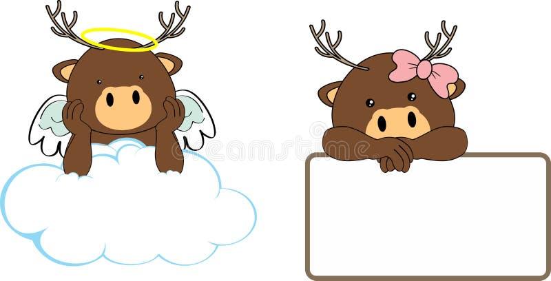 gulliga små ängel- och flickahjortar behandla som ett barn tecknad filmcopyspace royaltyfri illustrationer