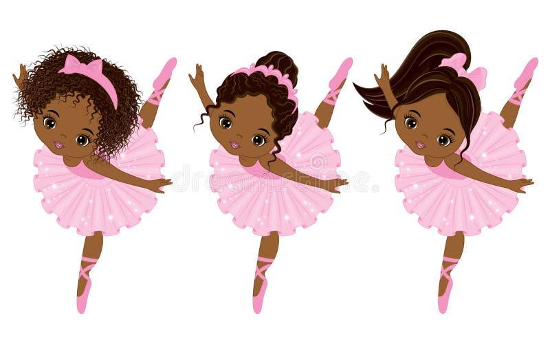 Gulliga små afrikansk amerikanballerina för vektor med olika frisyrer royaltyfri illustrationer