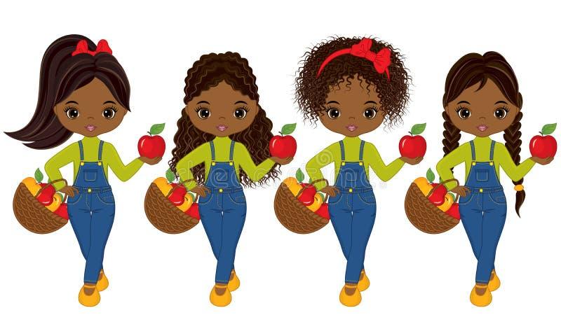 Gulliga små afrikansk amerikanflickor för vektor med korgar av äpplen stock illustrationer