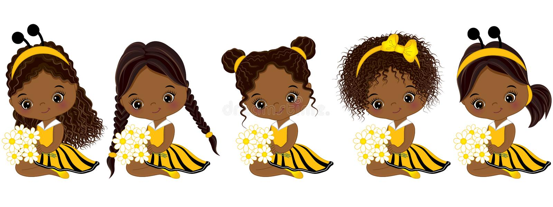 Gulliga små afrikansk amerikanflickor för vektor med olika frisyrer vektor illustrationer
