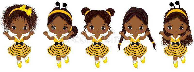 Gulliga små afrikansk amerikanflickor för vektor med olika frisyrer royaltyfri illustrationer