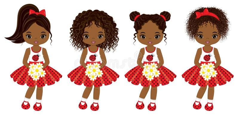Gulliga små afrikansk amerikanflickor för vektor med olika frisyrer stock illustrationer