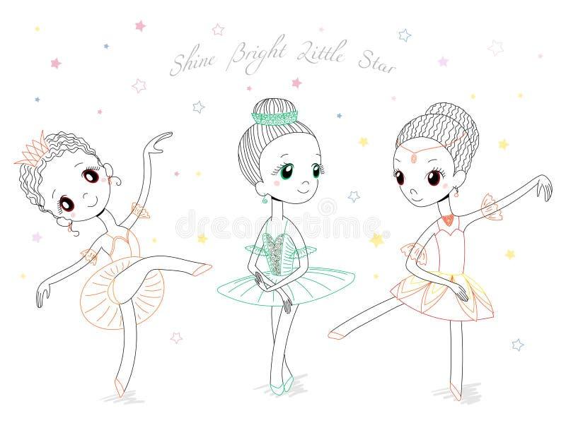 Gulliga små ballerina stock illustrationer