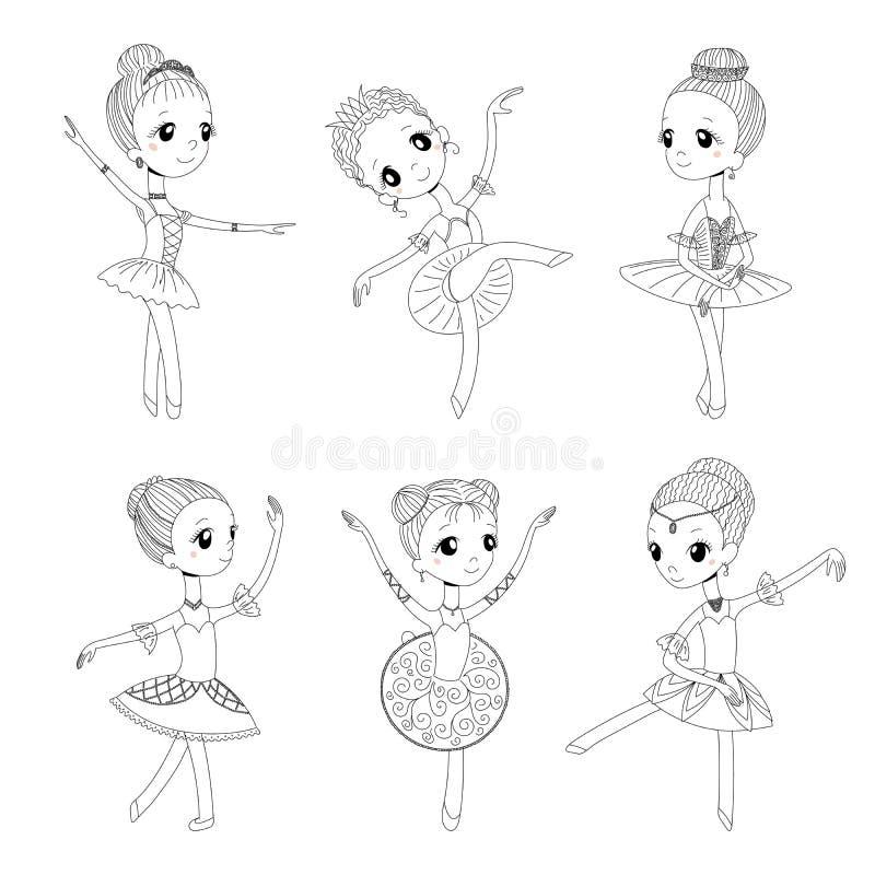 Gulliga små ballerina som färgar sidor stock illustrationer