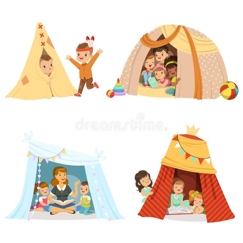 Gulliga små barn som spelar och sitter i en tälttipi, uppsättning för etikettdesign Detaljerade färgrika illustrationer för teckn stock illustrationer