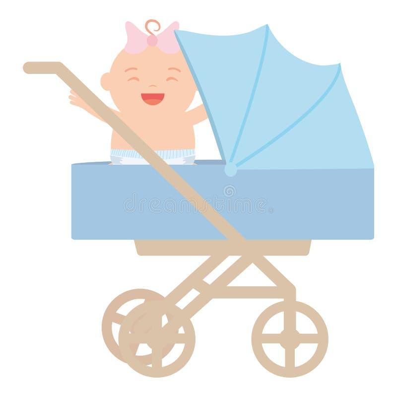 Gulliga små behandla som ett barn flickan i vagn stock illustrationer