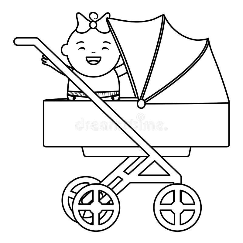 Gulliga små behandla som ett barn flickan i vagn vektor illustrationer