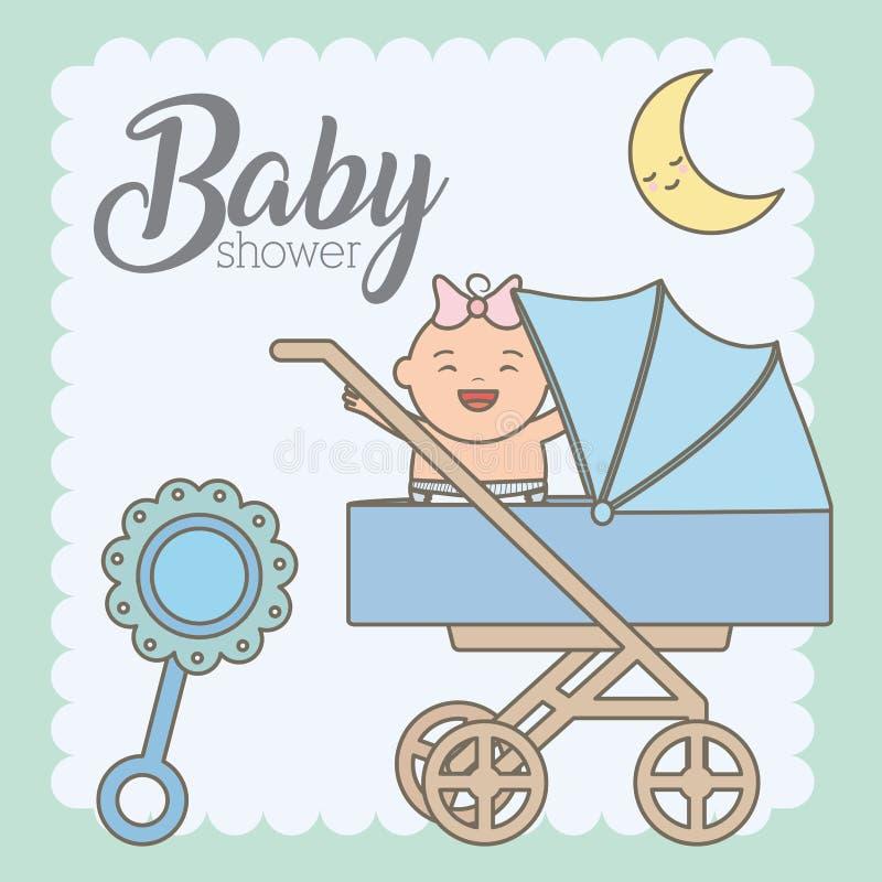 Gulliga små behandla som ett barn flickan i vagn royaltyfri illustrationer