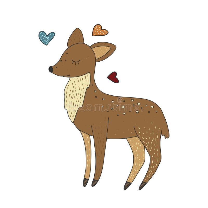 Gulliga små behandla som ett barn hjortar Dragit kort för vektortecknad film hand stock illustrationer