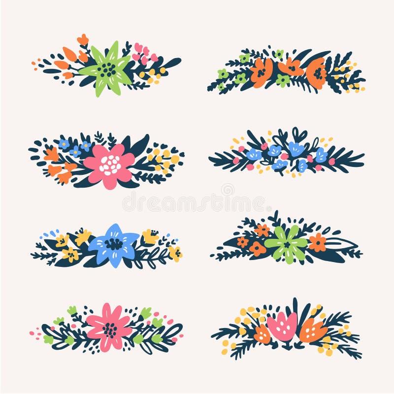 Gulliga små blom- buketter gränsar, retro utformade blommor Användbart för skapa bröllopkort, produkten som förpackar, logoer vektor illustrationer