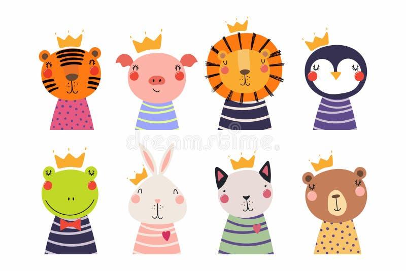 Gulliga små djur i kronauppsättning stock illustrationer