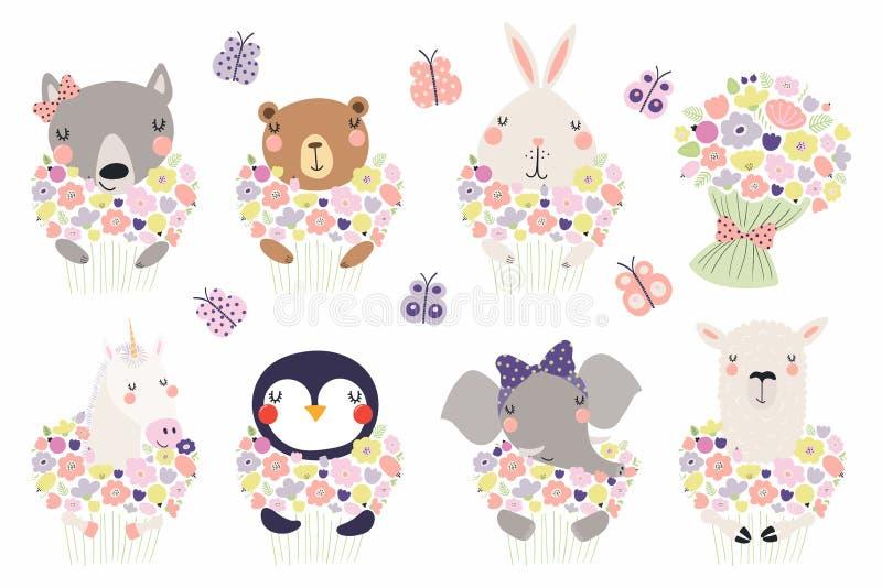 Gulliga små djur med blommauppsättningen royaltyfri illustrationer