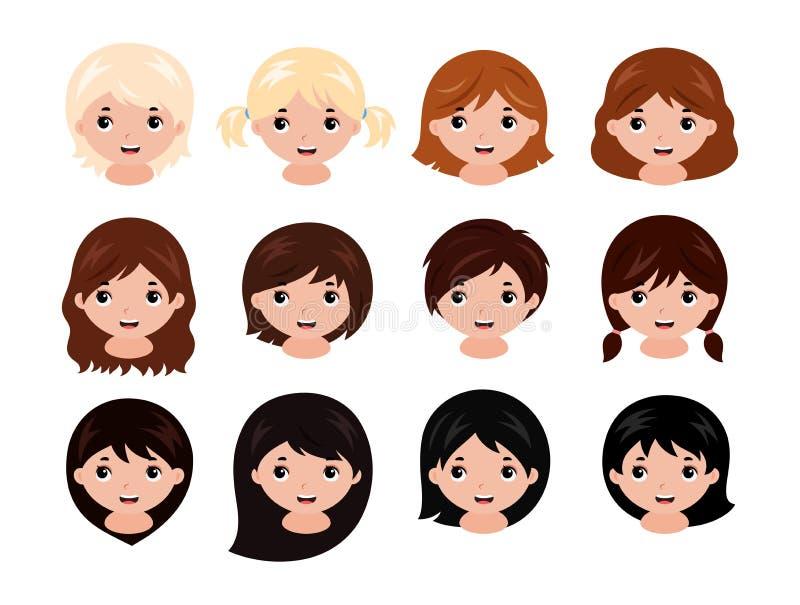 Gulliga små flickor head med olika frisyrer, och hår färgar från blondin för att svärta vektor royaltyfri illustrationer