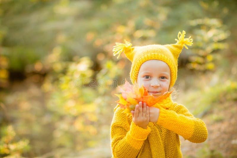 Gulliga små flickor med stora bueögon som spelar på härlig höstdag Lyckliga barn som har gyckel i höst, parkerar confusedly flick royaltyfria foton