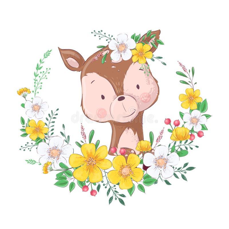 Gulliga små hjortar för vykortaffisch i en krans av blommor teckningen hand henne morgonunderkl?der upp varmt kvinnabarn vektor royaltyfri illustrationer