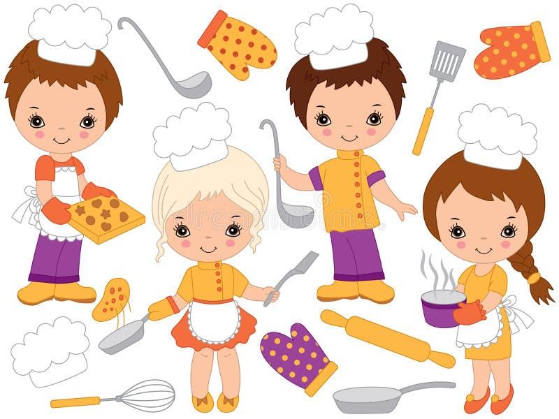 Gulliga små kockar för vektor som lagar mat och bakar Små ungar för vektor royaltyfri illustrationer