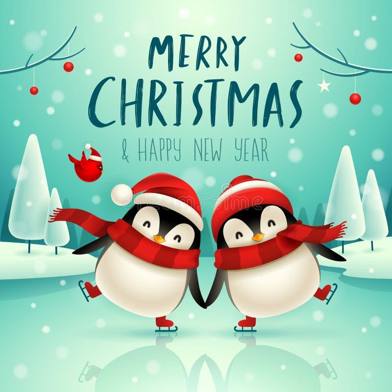 Gulliga små pingvin åker skridskor på den djupfrysta floden i julsnöplats Gulligt djurt tecknad filmtecken för jul royaltyfri illustrationer