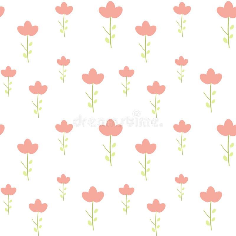 Gulliga små rosa färger blommar på enkel minsta sömlös modellillustration för vit bakgrund stock illustrationer
