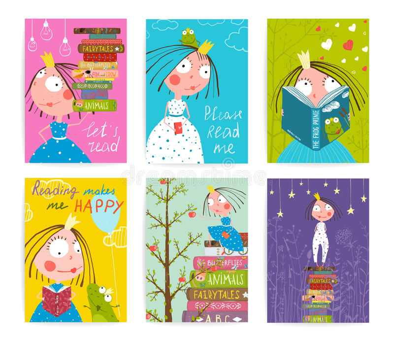 Gulliga små sagaböcker för prinsessa Kids Reading Fairy royaltyfri illustrationer