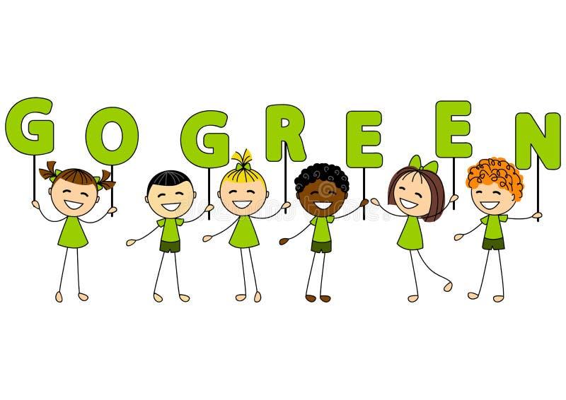 Gulliga små ungar med ekologimeddelandet royaltyfri illustrationer