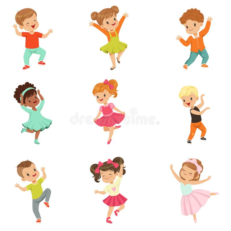 Gulliga små ungar som dansar modern och klassisk dansen för uppsättningen, utförde vid barnvektorillustrationer på en vit stock illustrationer