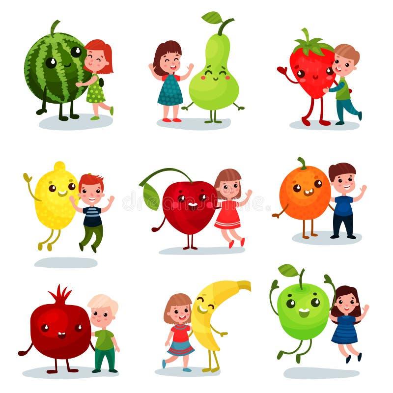Gulliga små ungar som har roligt och kramar jätte- frukter, bästa vän, sund mat för barntecknad filmvektor stock illustrationer