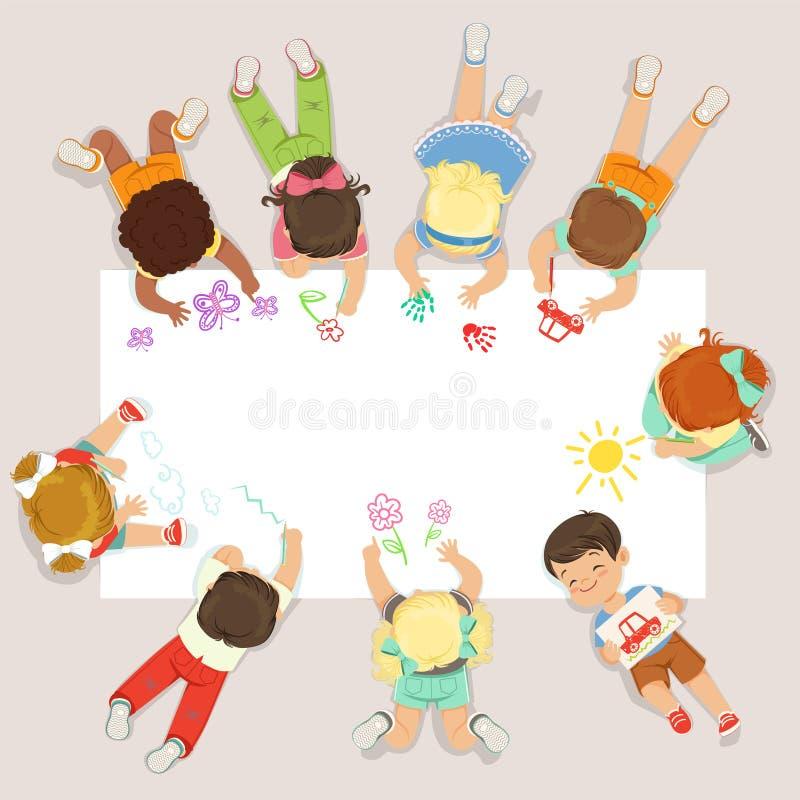 Gulliga små ungar som ligger och drar på stort papper Detaljerad färgrik illustration för tecknad film stock illustrationer