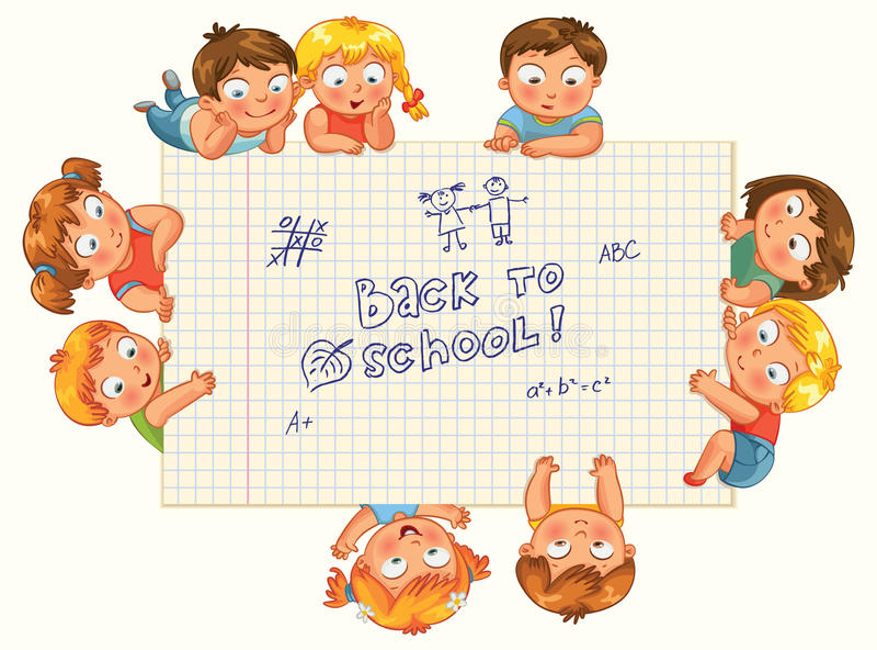 Gulliga små ungar visar en tom skrivbok stock illustrationer
