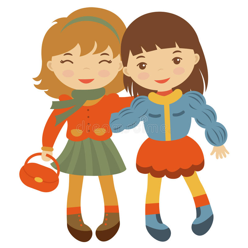 Gulliga små vänner royaltyfri illustrationer