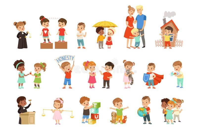 Gulliga sm? barn som skyddar deras familj, v?nner, djur och planeten, st?llde in vektorillustrationer p? en vit royaltyfri illustrationer