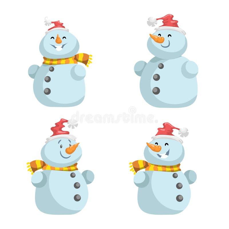 Gulliga snögubbear i röd hatt med halsdukvektorsymboler ställde in Tecknad filmuttryckstecken stock illustrationer